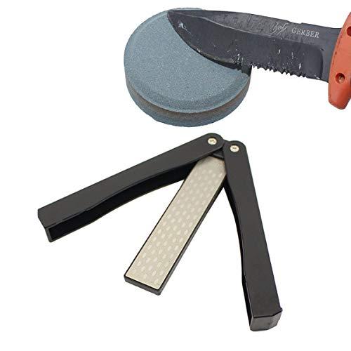 TANGGER 2 PCS Afilador de Cuchillos Bolsillo,Afilador de Cuchillos de Piedra de...