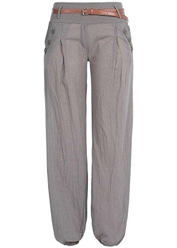 Styleboom Fashion® Damen Hose Harems Style Summer Pants Belt 2-PocketsFango braun, Gr:XXL