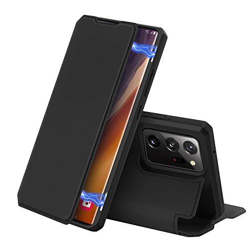 DUX DUCIS Hülle für Samsung Galaxy Note 20 Ultra/Note 20 Ultra 5G, Premium Leder Magnetic Closure Flip Schutzhülle handyhülle für Samsung Galaxy Note 20 Ultra/Note 20 Ultra 5G Tasche (Schwarz)