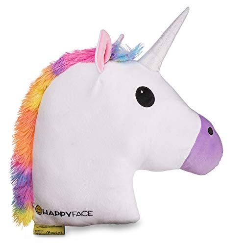 Happy Face Cojín de unicornio – Almohada Emoji Pillow cojín decorativo 32 cm x 32 cm acolchado