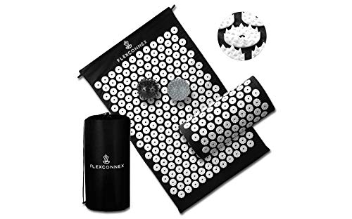 Flex Connex Acupressure Mat and Pillow | Neck, Sciatica and Back Pain Relief | Migraine & Stress Relief | Back Massager and Neck Pillow | Imrpoved Sleep and Less Stress in Minutes (Black)