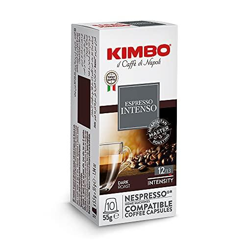Kimbo Intenso - Capsule Caffè Compatibili Nespresso, Intensità 12/12, 10 Astucci da 10 Capsule (Totale 100 Capsule)