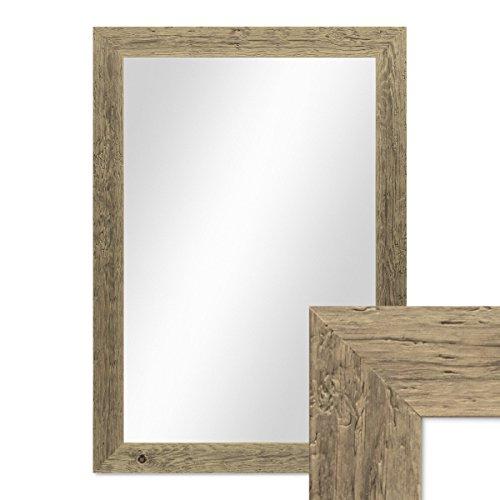 *PHOTOLINI Wand-Spiegel 70×90 cm im Massivholz-Rahmen Strandhaus-Stil Breit Eiche-Optik Rustikal/Spiegelfläche 60×80 cm*
