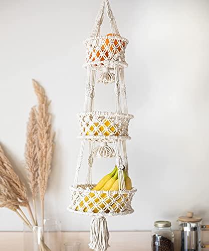 SnugLife Macrame 3 Tier Hanging Basket - Space Saving Hanging Fruit Basket for Kitchen or Decorative Boho Decor Hanging Plant Holder - Use for Produce Baskets, Indoor Planter Hangers, 42 Inches Beige