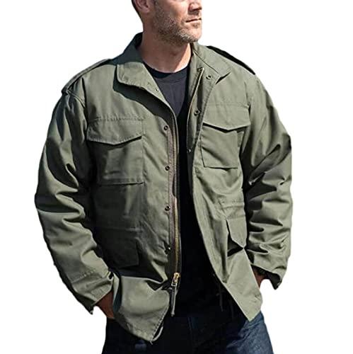 TSTZJ Chaqueta Militar Liviana de los Hombres, Chaqueta de Bolsillo Caliente de los Hombres Gruesa Chaqueta de Bombardero Abrigo térmico Chaquetas de algodón Abrigo (Color : Green, Size : M)