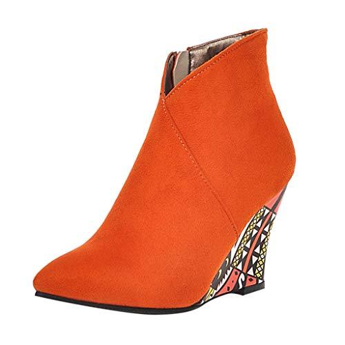 VECDY Damen Stiefeletten Seitenreißverschluss Flock Ankle Bare Boots Wedges Lässige Short Tube...