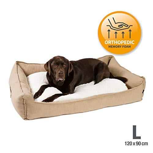 JAMAXX Premium Hundebett in edler Leinen-Optik/Orthopädisch Memory Visco Schaumstoff/Waschbar Bezug Abnehmbar, mit Wendekissen, Hochwertiger Hunde-Korb Hundekörbchen S-XL (L) 120x90 Coffee-beige