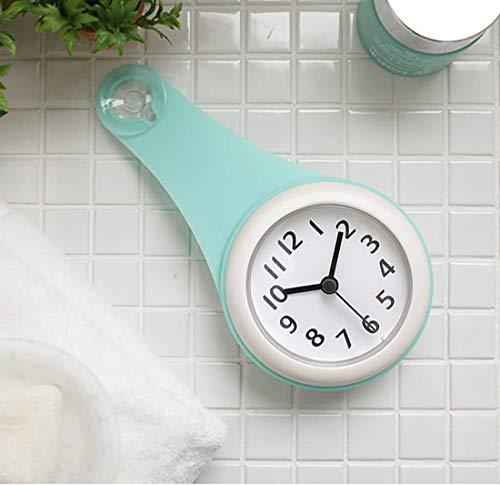 バスルーム時計 防水クロック 掛け時計 ウォールクロック 吸盤付き 防水 静音 浴室 キッチン お風呂 家庭用 おしゃれ (蓝色)
