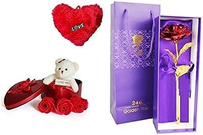 Zukunft Fashion Valentines Special Artificial Red Rose and Teddy Gift Set -Valentine Gift for Wife Husband Girlfriend Boyfriend Girls Boys