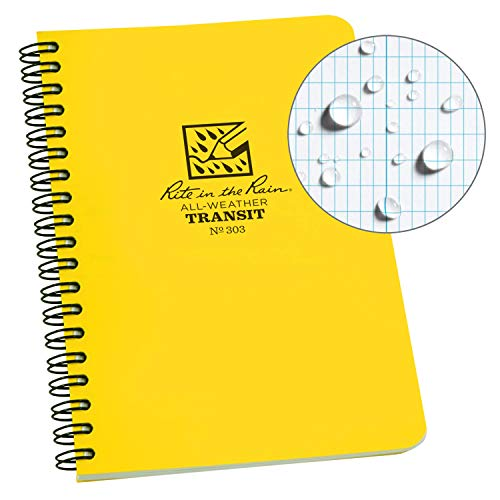 """Rite in the Rain Weatherproof Side-Spiral Notebook, 4 5/8"""" x 7"""", Yellow Cover, Transit Pattern (No. 303)"""