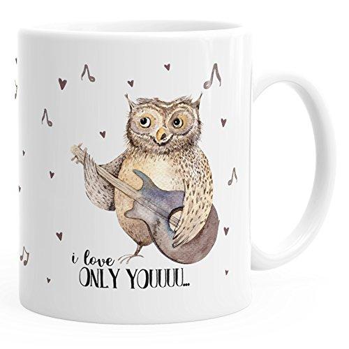 MoonWorks Kaffee-Tasse Only You singende Eule Owl Liebe Love Watercolor I Love You Ich Liebe Geschenk-Tasse einfarbig weiß Unisize