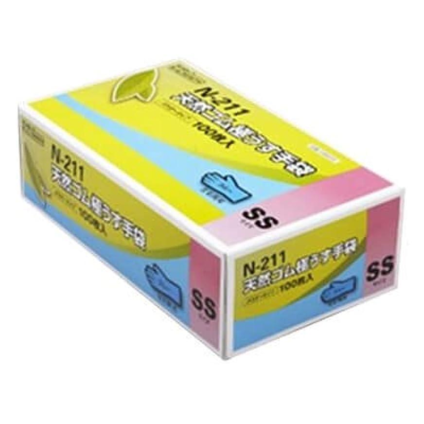 促す見かけ上ライオン【ケース販売】 ダンロップ 天然ゴム極うす手袋 N-211 SS ブルー (100枚入×20箱)