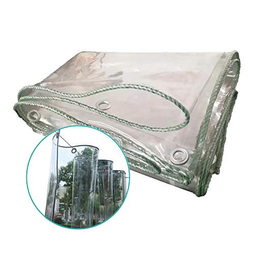 N / A Tarps Transparent Tarp Waterproof, Thicken Heavy Duty Tarpaulin with Grommet, 12oz/23oz Outdoor PVC Rainproof Shelter Cloth for Pergola(Color:0.3mm,Size:2×6m)