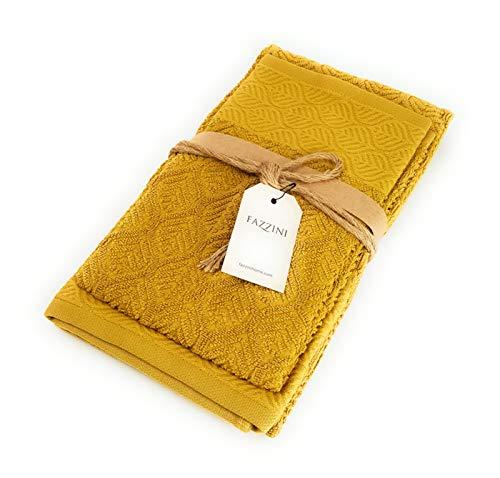 Fazzini bladeren badstof 1+1 gastenhanddoek + handdoek, 8 oker