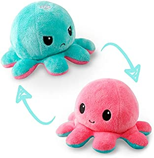 TeeTurtle | The Original Reversible Octopus Plushie | Patented Design | Light Pink and Light Blue | Show your mood without...
