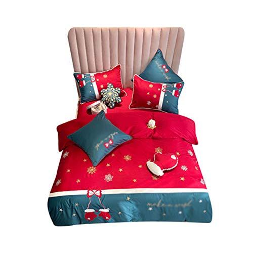 PHGo Bettbezug Langstapelige Baumwolle Vierteilige Weihnachtsstickerei Bettbezug Kleine Frische Baumwolle Bettwäsche/Weihnachtsschlafzimmer Dekorationen
