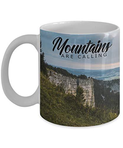 Dozili Lustige Kaffeetasse – Berge sind Calling für Camper, Wanderer, Outdoor-Enthusiasten, 312 ml, Weiß