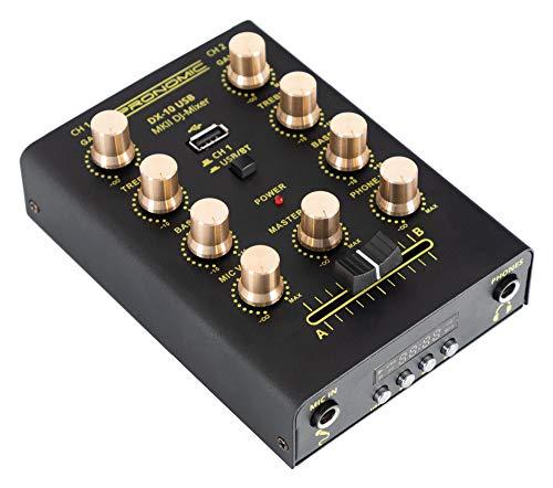 Pronomic DX-10 USB MKII DJ Mixer - kompakter 2-Kanal-DJ-Mixer - zwei Line-Eingänge - 2-Band Equalizer - Bluetooth und USB - Mikrofoneingang - Kopfhörerausgang - schwarz