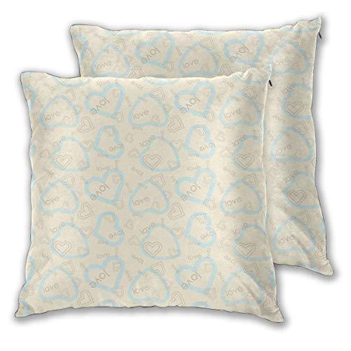 AEMAPE Square Throw Kissenbezüge, Blue Love Hearts 2er Pack dekorative Kissenbezüge Kissenbezüge für Sofa Schlafzimmer Auto 40X40 cm