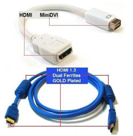 PTC Premium adaptador mini-DVI a HDMI con 6pies Azul Premium Cable HDMI valorado Pack–para iMac (Intel Core Duo), MacBook, y PowerBook G4de 12pulgadas