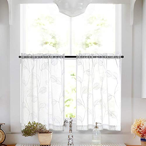 White Sheer Tiers with Leaf Embroidered Design Curtains for Bathroom Rod Pocket Small Window Curtain for Kitchen 24 inch 2 Panels