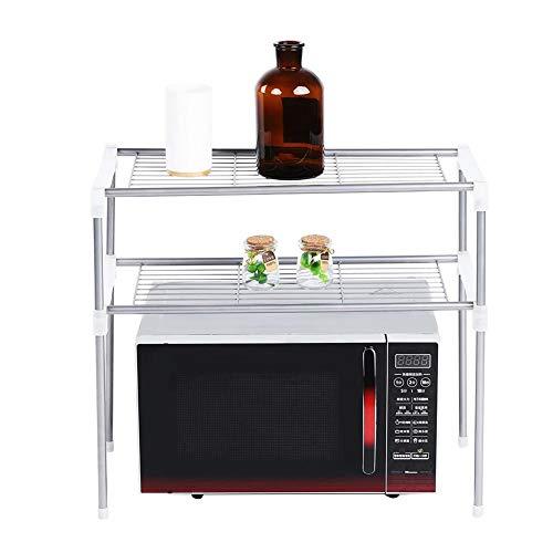 Aufee Mikrowellenregal, zweilagiges Regal für Mikrowellen, Küchenregal für Küche oder Bad