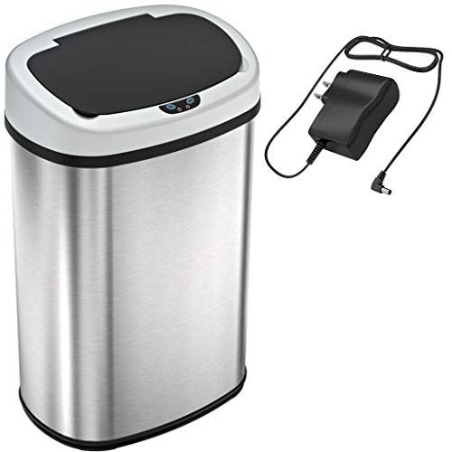 SensorCan 13 Gallon Automatic Touchless Sensor Kitchen Trash Can with AC Adapter and Odor Filter Kit, Stainless Steel, Oval Shape