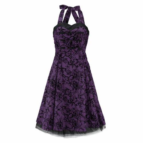H & R London jurk tattoo 50'S jurk paars-zwart