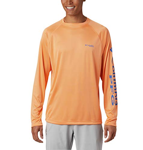 Columbia Men's Terminal Tackle Long Sleeve Shirt, Bright Nectar/Vivid Blue Logo, Small