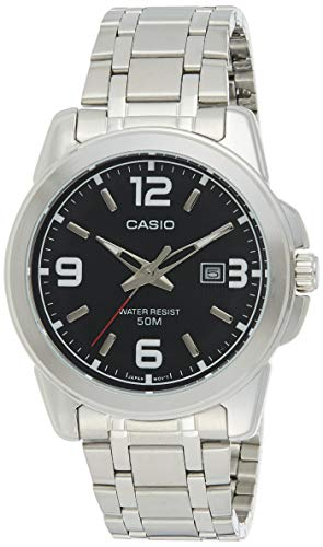 Casio Men's MTP1314D-1AV Silver Stainless-Steel Quartz Watch with Black Dial