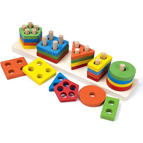 Amasawa Steckplatte Holz,Form Lernen Stapel Puzzles,Kleinkind Spielzeug Vorschule Form Farbe Erkennung Geometrische Sortierung Stapel Puzzlespiele Geburtstagsgeschenke für Kinder