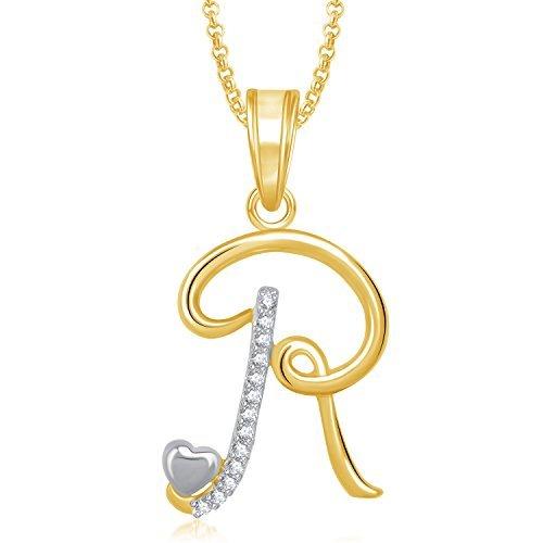 MEENAZ American Diamond Jewellery Gold Plated Stylish Latest design Name 'R'