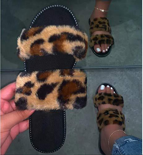 LXYYBFBD Sandalen voor vrouwen, zomer Flat Bottom Strappy Top Slippers Dames Lichtgewicht All-Match Sandalen Grote Maat Luipaard Print Mode Casual Bohemia Beach Romeinse stijl Sandalen