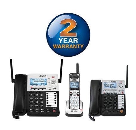 AT&T SB67138 + SB67148 3 Handset Corded Cordless Phone Bundle (4 Line)