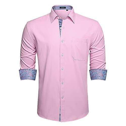 HISDERN Camisas de Vestir para Hombre Camisa de Boda Rosa de Manga...