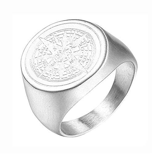 PAURO Herren Ring Edelstahl Retro Geheimnisvoller Runder Kompass Siegel Stern Silber Größe 62 (19.7)