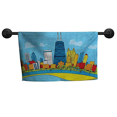 xixiBO Soft Towel W 14 x L 14(inch) Anti-Fade Towel,Chicago Skyline,Cute Cartoon Style Childish City View with Colorful Buildings Caricature,Multicolor