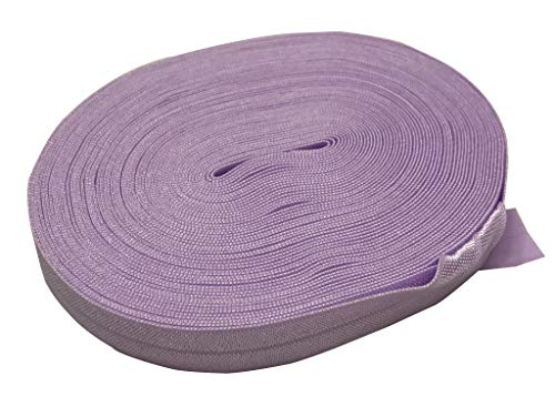 Bowtique Emilee 5/8' Elastic 10 yards Spool, Fold Over Elastic for Face Masks, Headbands or Hair Ties (Lavender)