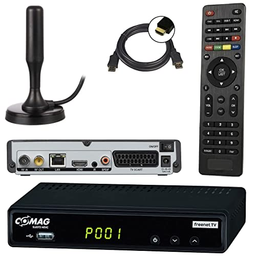 netshop 25 Set: Comag SL65T2 DVB-T2 Receiver (Mit Zugangssystem für FREENET TV) + DVB-T2 Antenne + HDMI Kabel, HDTV, PVR Ready, HD USB Mediaplayer, HDMI und SCART Ausgang, schwarz