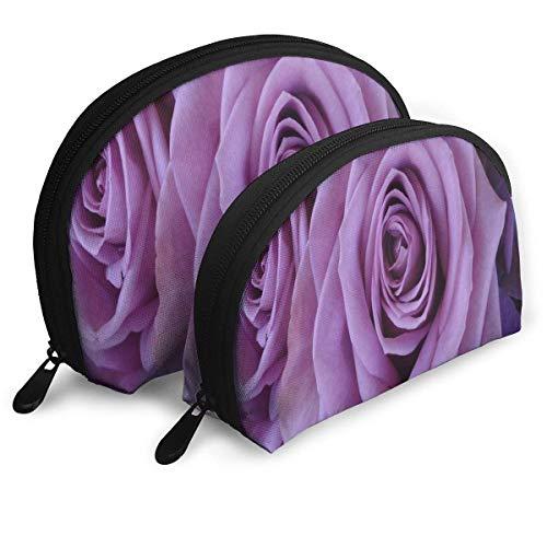 Trousse de Maquillage Lavender-Roses Portable Shell Organisateur de Toilette pour Les Filles Thanksgiving Day Gift 2 Piece