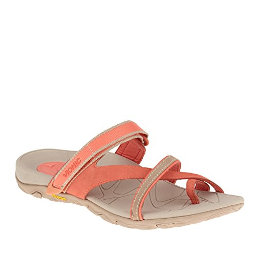 Vionic with Orthaheel Technology Women's Mojave Sandal,Berry/Grey,US 6 M