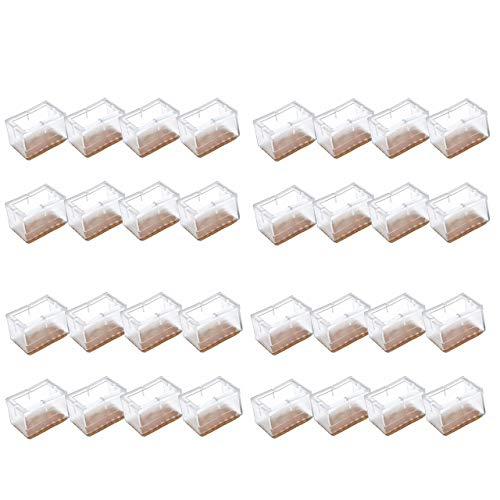 Mogokoyo 32 x Stuhlbeinkappen Silikon Stuhlbein Fußboden Schutz Möbel Tischabdeckung Furniture Tisch Hocker Bein Covers Pads Protectors für 39-47mm Lang 24-30mm Breit Rechteckig Beine