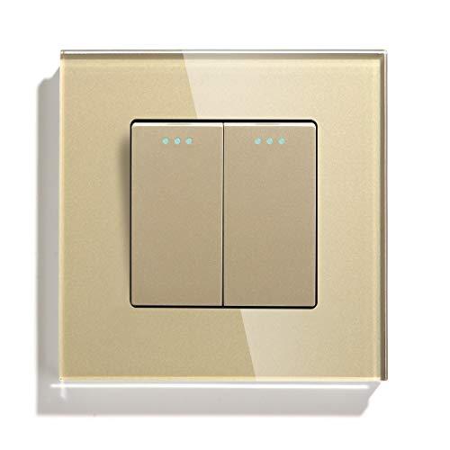 LITOSM Interruptor De Luz 2 Gang 1 Way 2 Way Button Button Interruptor Estándar Interruptor para el hogar Negro Blanco Dorado con el Panel de Cristal de Cristal para el hogar Conmutador Superficie