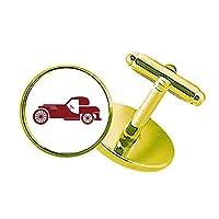 幾何学の古典的な赤い車のシルエット スタッズビジネスシャツメタルカフリンクスゴールド