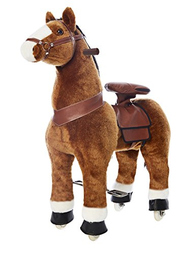 Pony Rider Ride On Pony - Giddy up Pony Plush Light Brown/White Hoof Pony - Ages 3+