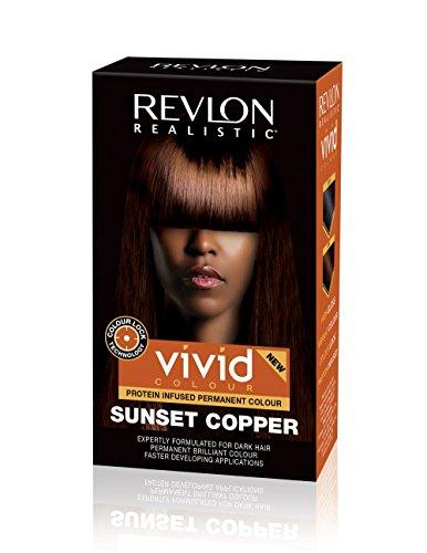 Revlon Realistic Vivid Colour Permanent Dark Hair Dye Color with Colour Lock Technology, Sunset Copper 110ml