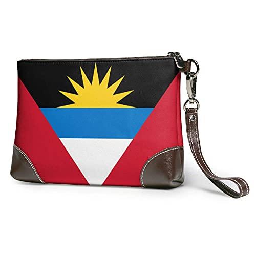 XCNGG Bandera de Antigua Barbuda Hombres 'S y Mujeres' S Embragues de cuero Carteras de piel de vaca real Bolsas de almacenamiento Bolsas de teléfono inteligente