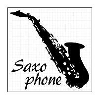 サクソフォーン シルエット 楽器ステッカー (白:ホワイト)