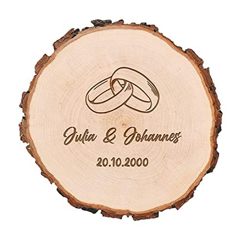 Disco de madera de aliso con grabado personalizado, regalo de boda, círculo de madera con anillos anuales, producto natural vegano, sin tratar, diseño de anillos