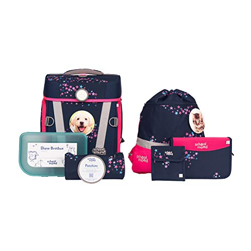 Hero Air+ Schulranzenset - 7-teilig- für Mädchen & Jungen - ergonomisch & sicher (Leni (Hund))